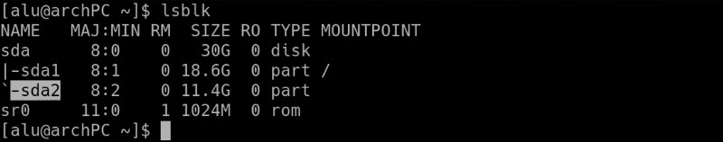 List available partitions with lsblk command