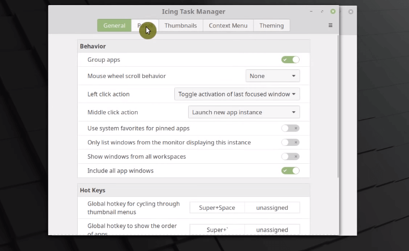 Screenshot of Icing Task Manager Settings