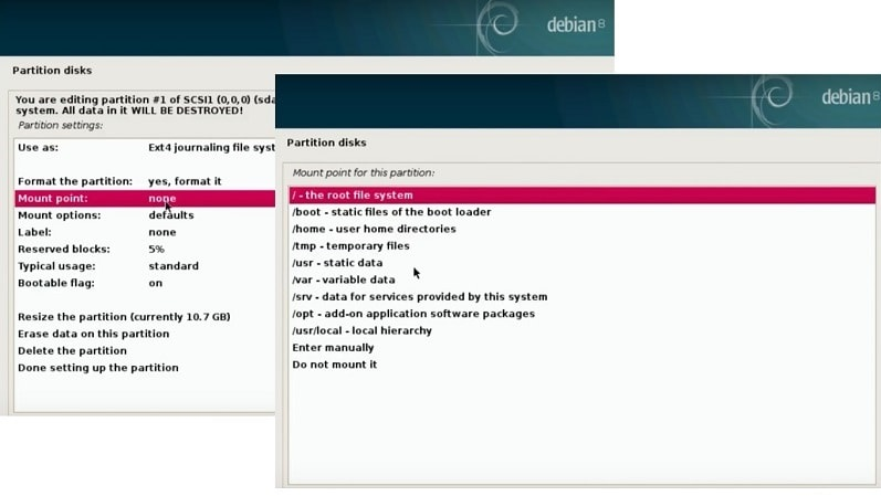 Install Debian Testing: choose mounting points