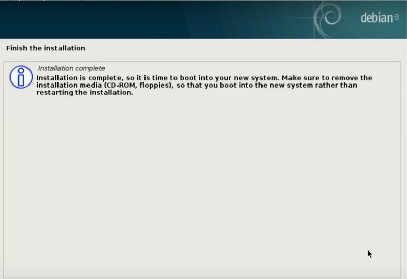 Debian stable installation is done