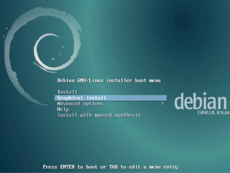 Install Debian Testing: Graphical install menu