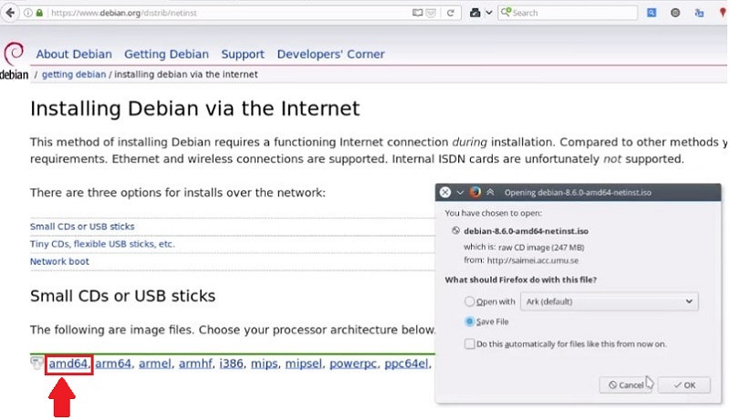 Install Debian Testing: Download link for Debian Network install ISO