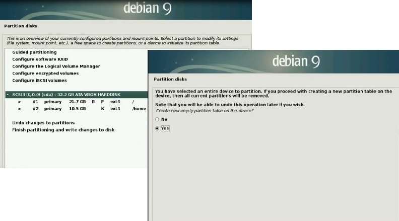 Debian 9 Installation Guide _create new partition
