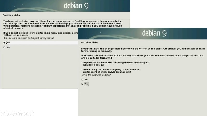 Debian 9 Installation Guide_home_partition_swap partition_write changes