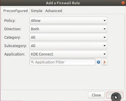 Adding a firewall rule for KDE Connect