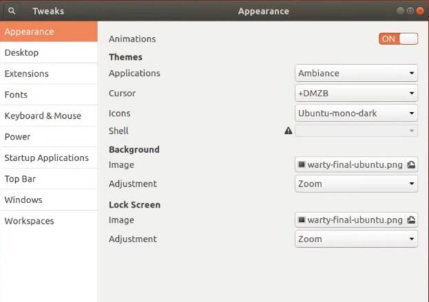 Gnome Tweak Tools Settings