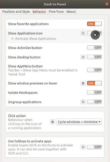 Hidding Applications icon on Dash to Panel.