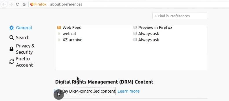 Enabling DRM support in Firefox Preferences