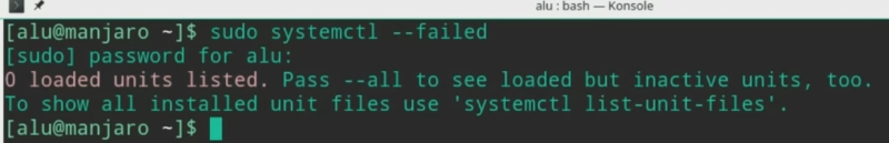 Showing systemctl failed processes