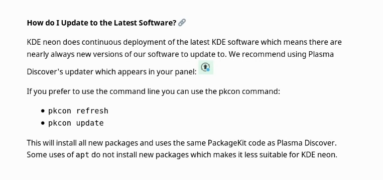 pkcon is the recommended option to upgrade according to KDE Neon website
