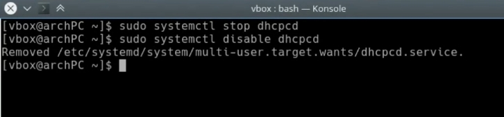 Disabling dhcpcd
