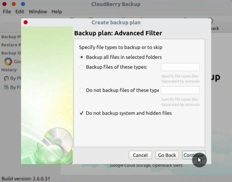 Cloudberry Backup filter