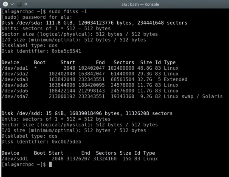 output of the command: sudo fdisk -l