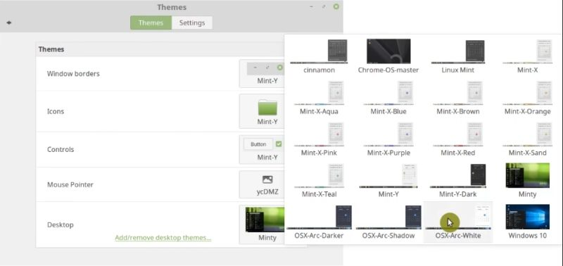 Linux Mint Themes and Icons beyond the default   Average