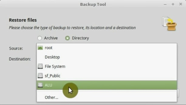 Select the source of the backup