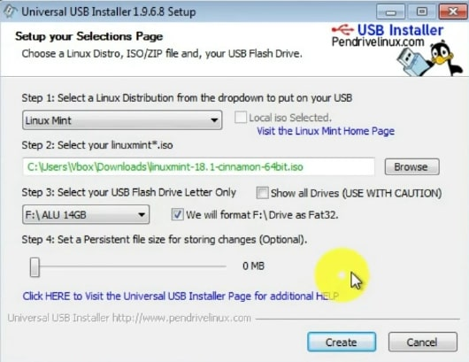 Creating the bootable USB with Universal USB Installer