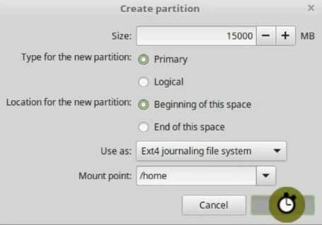 Defining the home partition