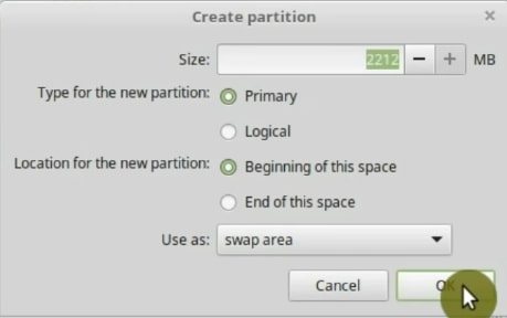 Creating the swap partition