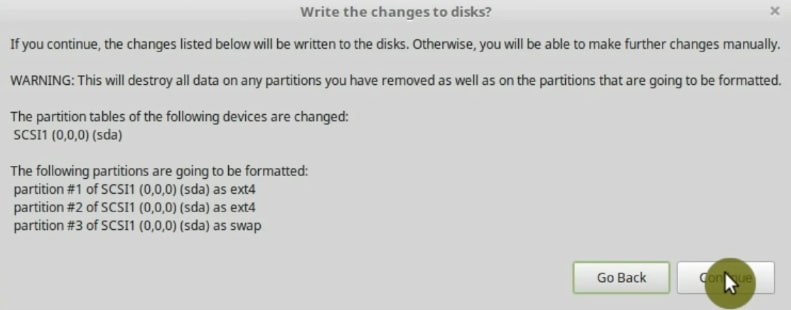 Summary of the changes it will make to the hard drive