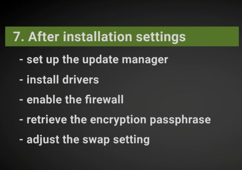 Some after installation settings