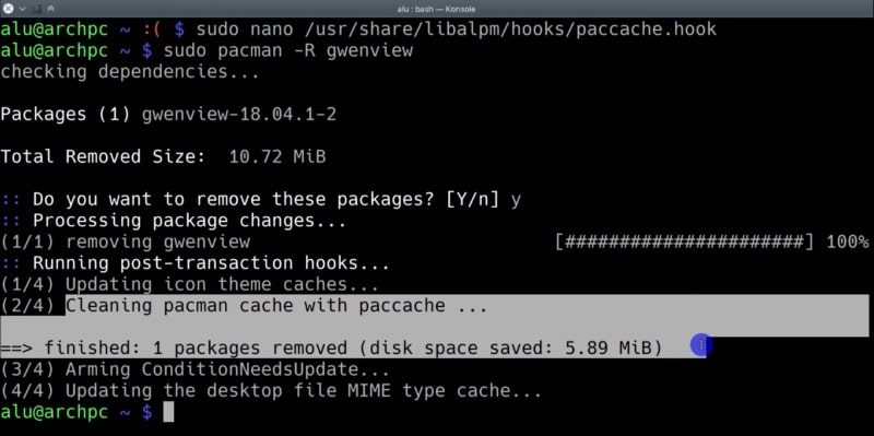 Now paccache will run after pacman