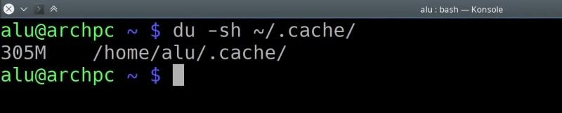 Show the cache folder size in the home directory