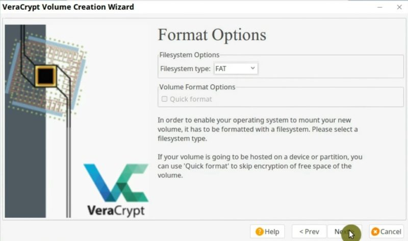 Format Options screen where you can choose the volume filesystem