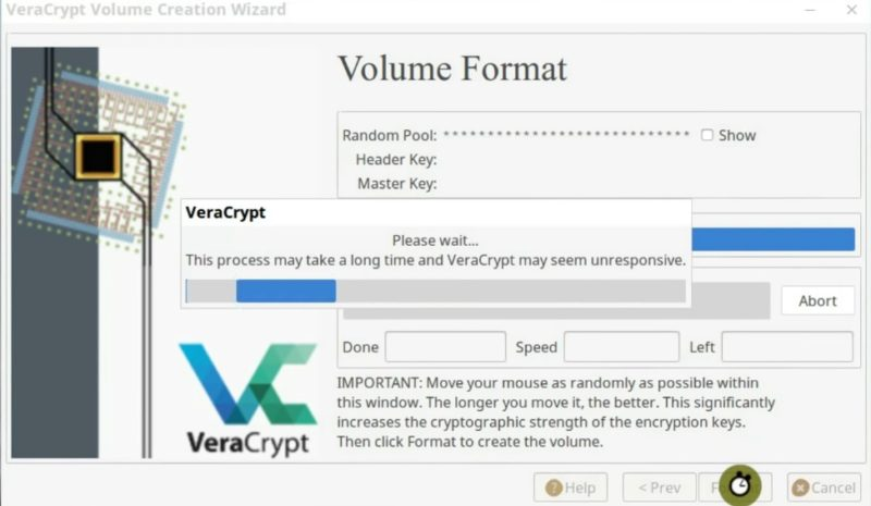 The VeraCrypt encryption process has started