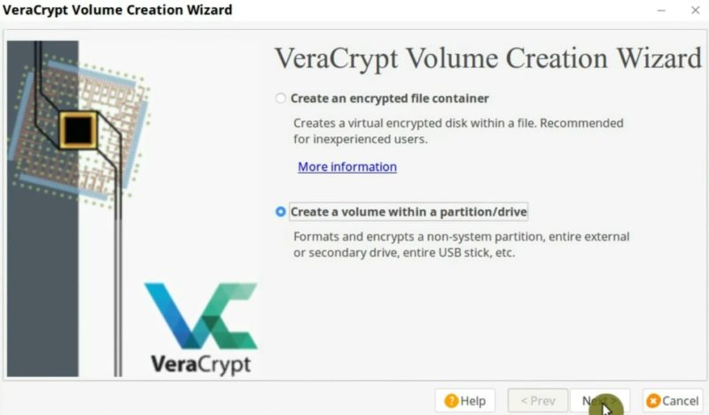 Create an encrypted partition in VeraCrypt