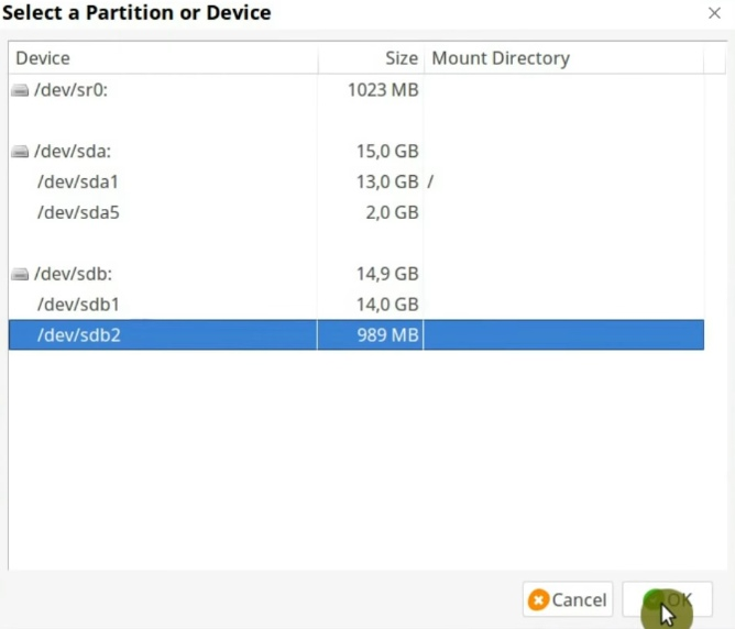 Selecting the partition to encrypt in VeraCrypt