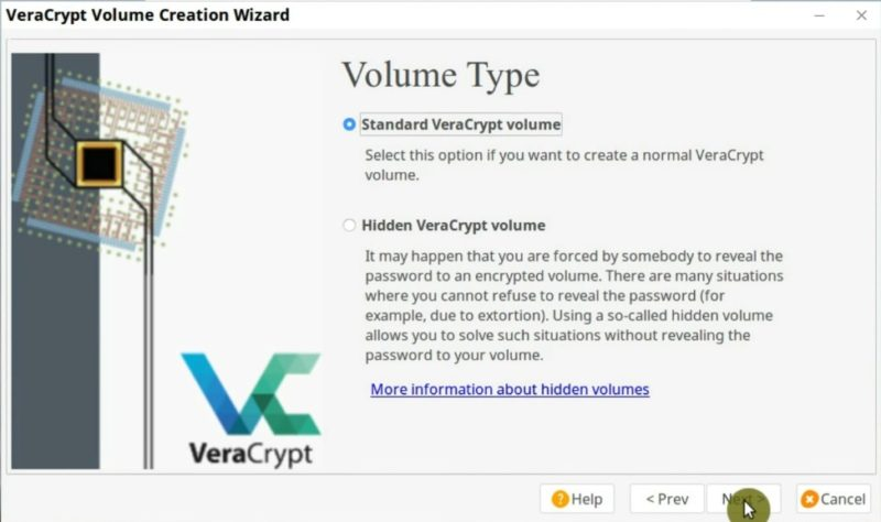 Choose the Volume Type in VeraCrypt