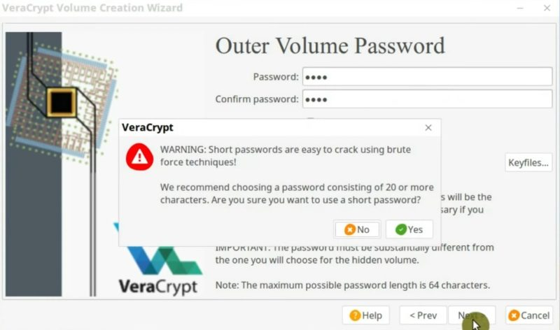 Create the password for the outer volume in VeraCrypt