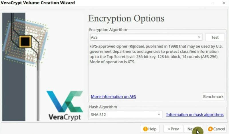 Encryption Options in VeraCrypt