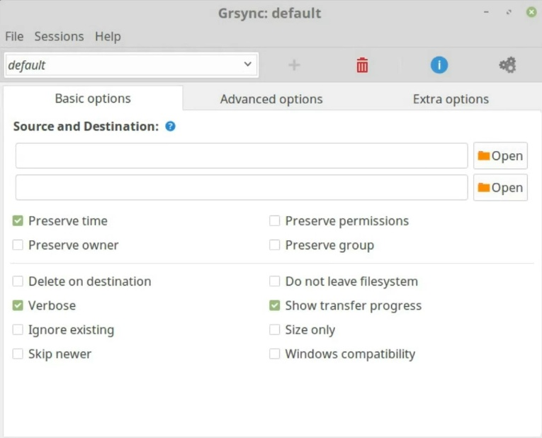 The Grsync default screen