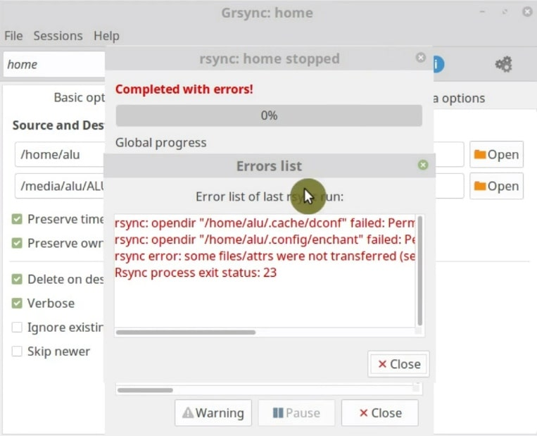 There are some errors during the process of Grsync backup