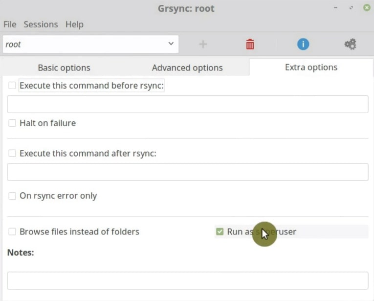 Run the backup as superuser in Grsync