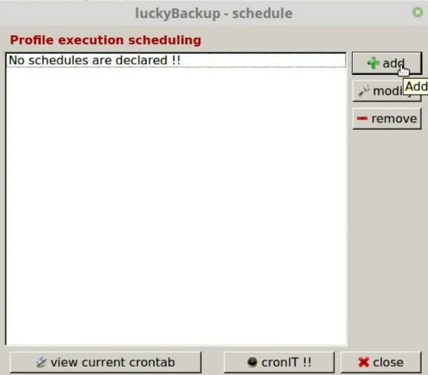 Add a rule to the schedule in Luckybackup