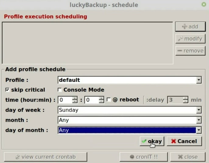 Configure the backup schedule in Luckybackup