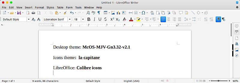 LibreOffice with Colibre Icons McOS theme