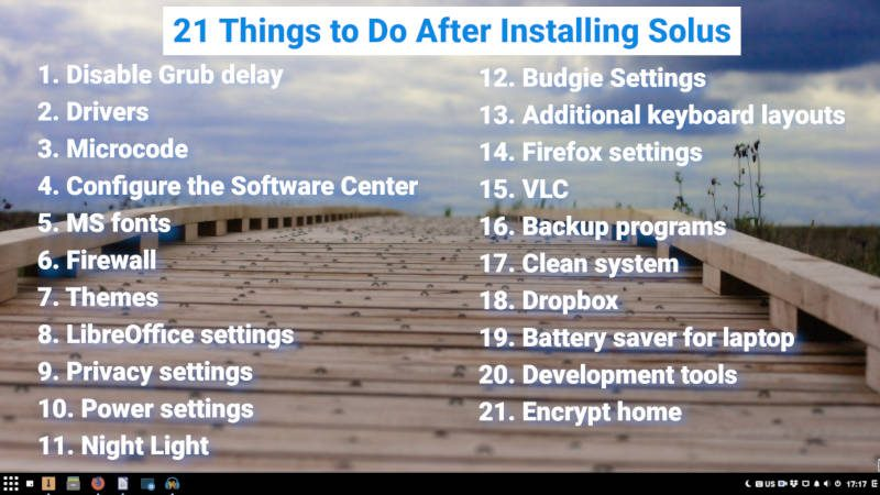 21 things to do after installing Solus | Average Linux User