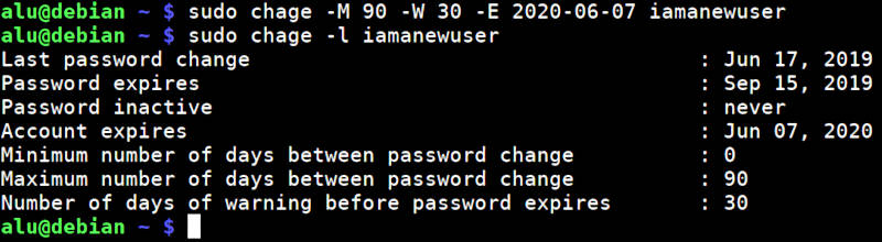set account and password expiration in Linux