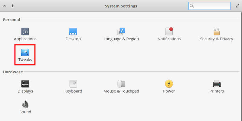 elementary OS Tweaks in the Settings