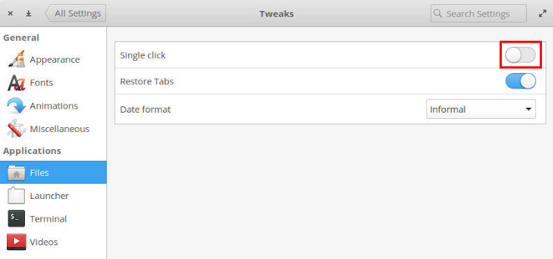 Disable single-click in elementary OS Tweaks