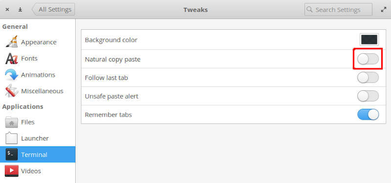 Disable natural copy-paste for terminal in elementary OS Tweaks