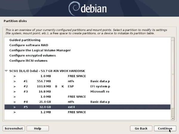 Manual partitioning in the Debian 10 installer