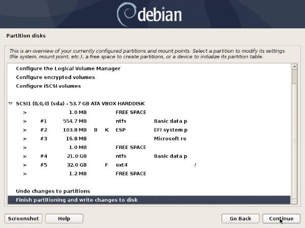 Partition table for Windows and Debian dual-boot