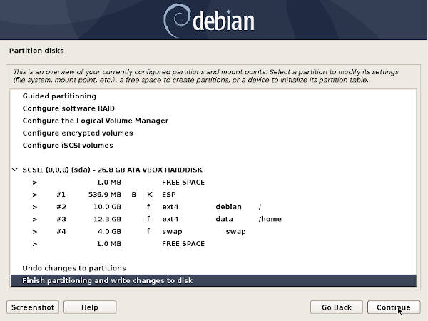 Partition table for Debian only