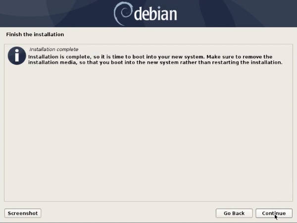 Debian 10 is installed successfully