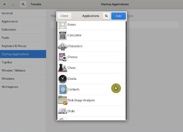 Start Up menu in GNOME