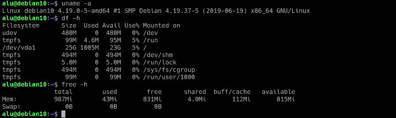 Debian's resource usage on a server